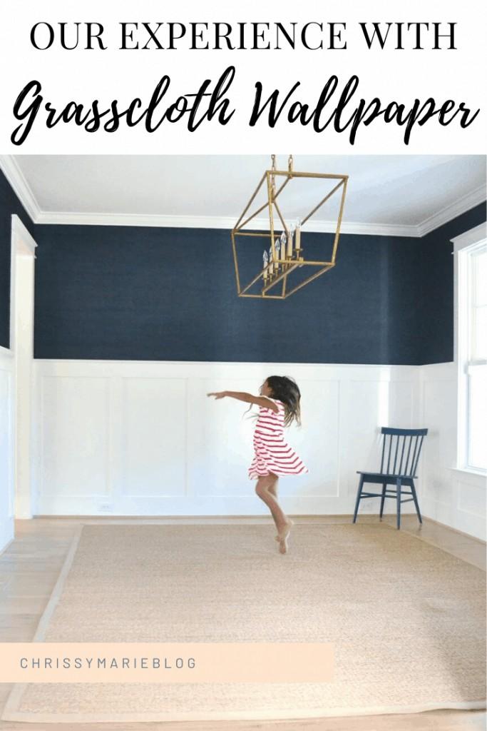Pinterest image of navy grasscloth wallpaper
