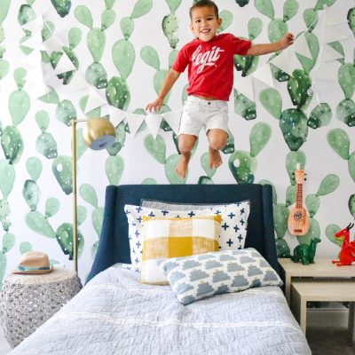 Cactus Removable Wallpaper In A Boys Room