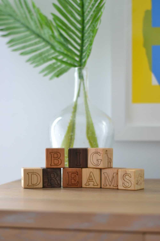 close up of wooden blocks on dresser