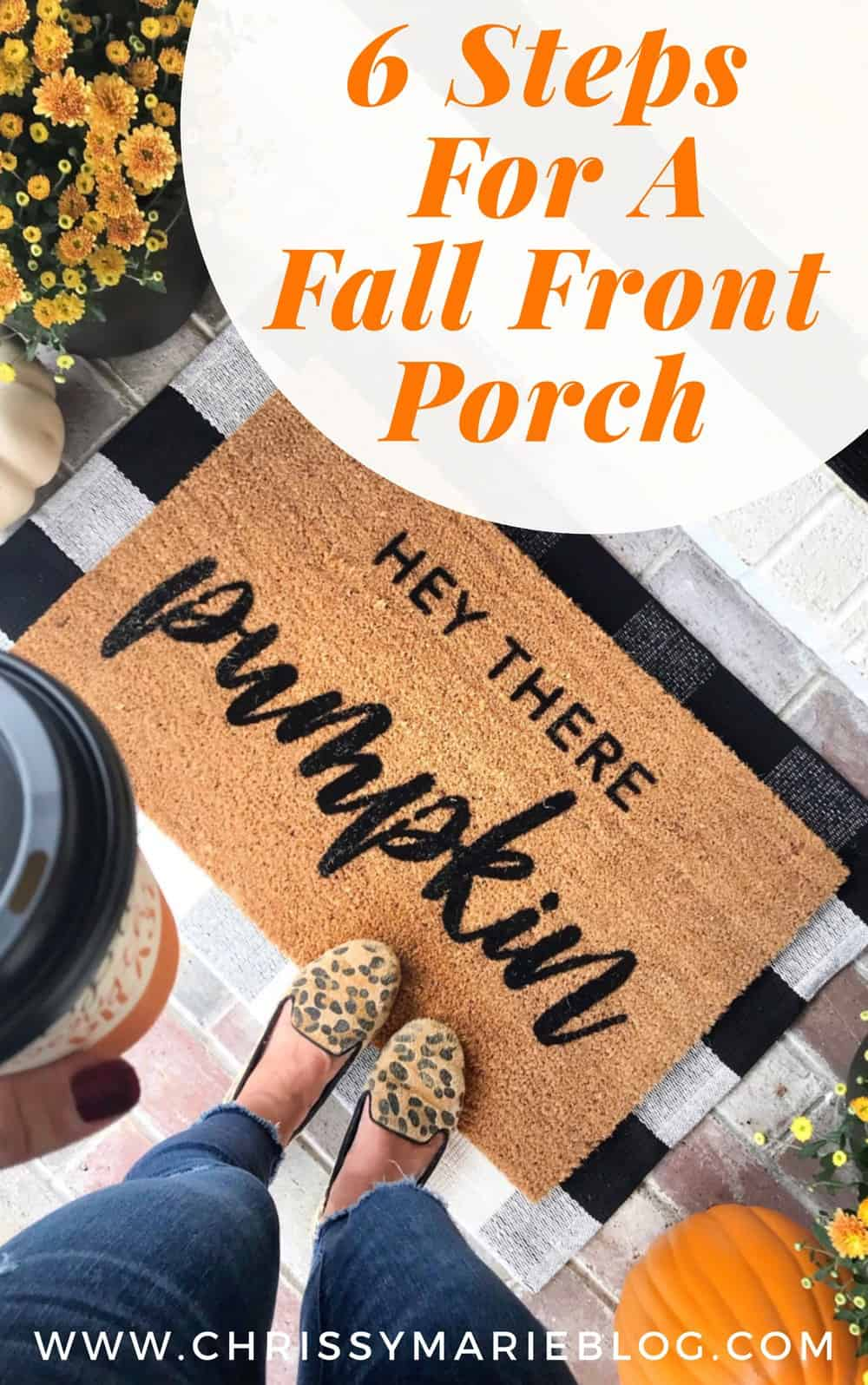 Pinterest image for 6 steps for a fall front porch on a budget