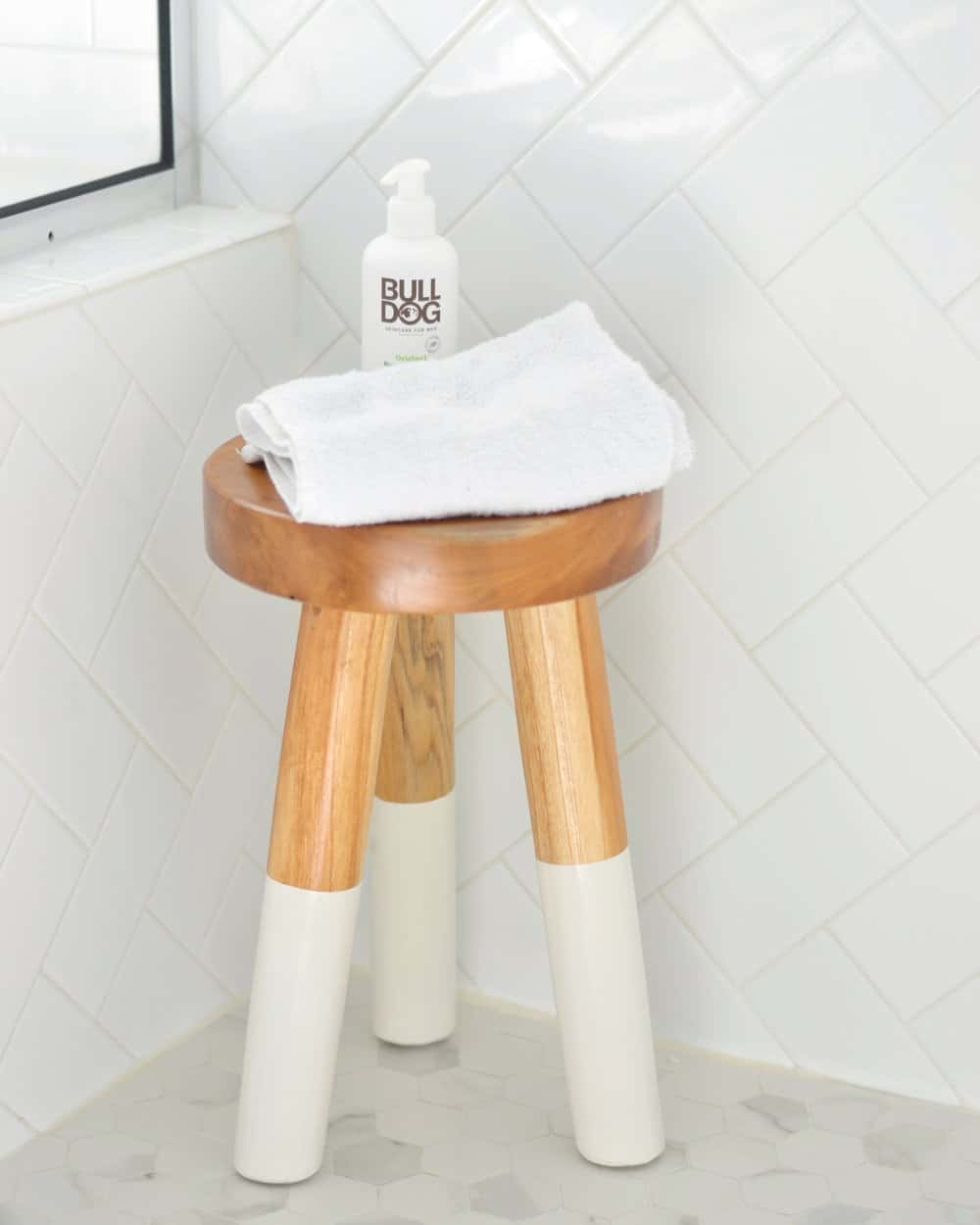 dip dyed stool in shower