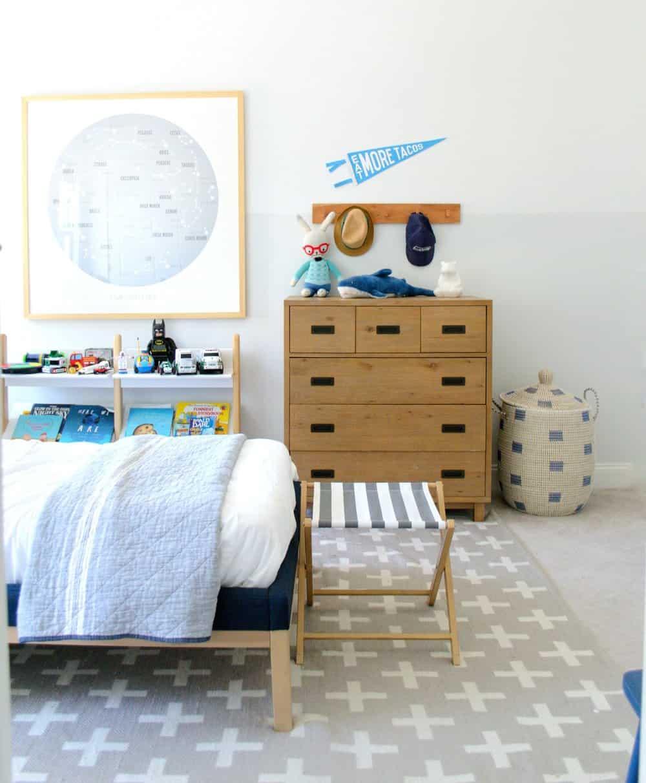 child's room with La Jolla basket