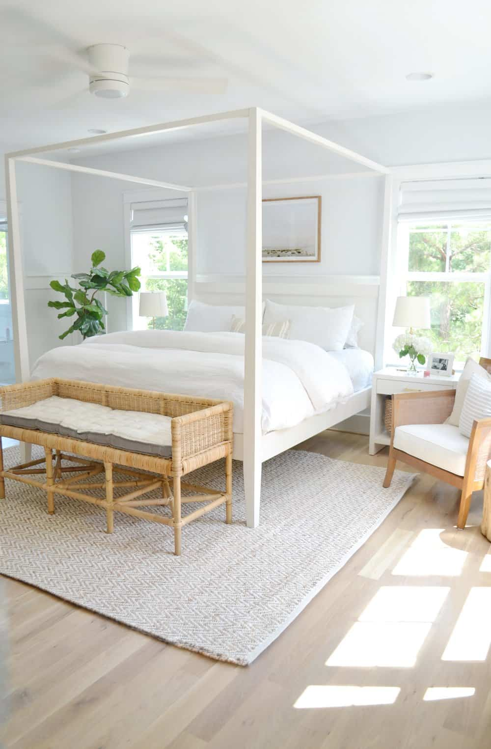 Serena and lily shore bench and a bed in a bedroom for review