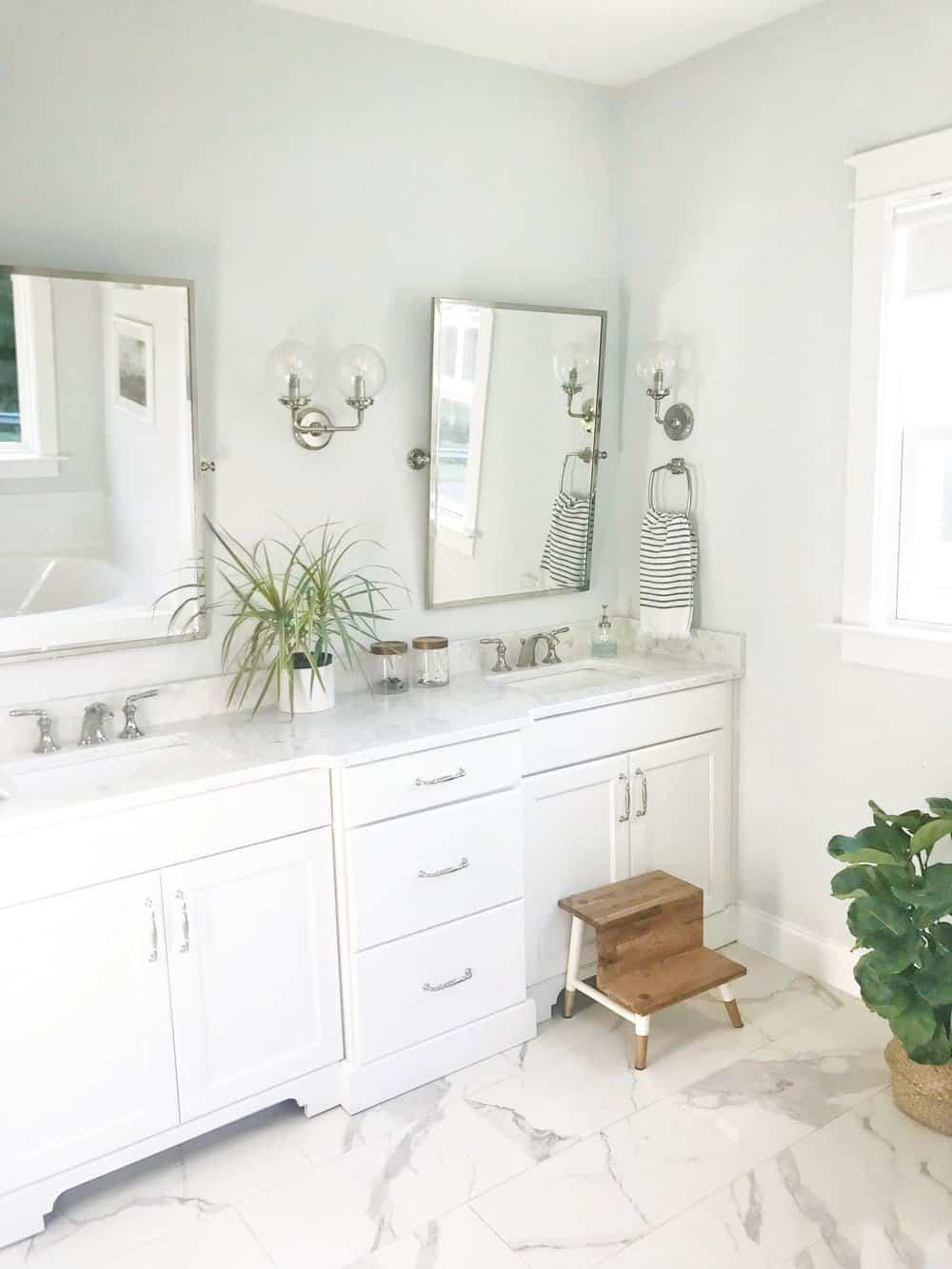 bathroom with teak step stool