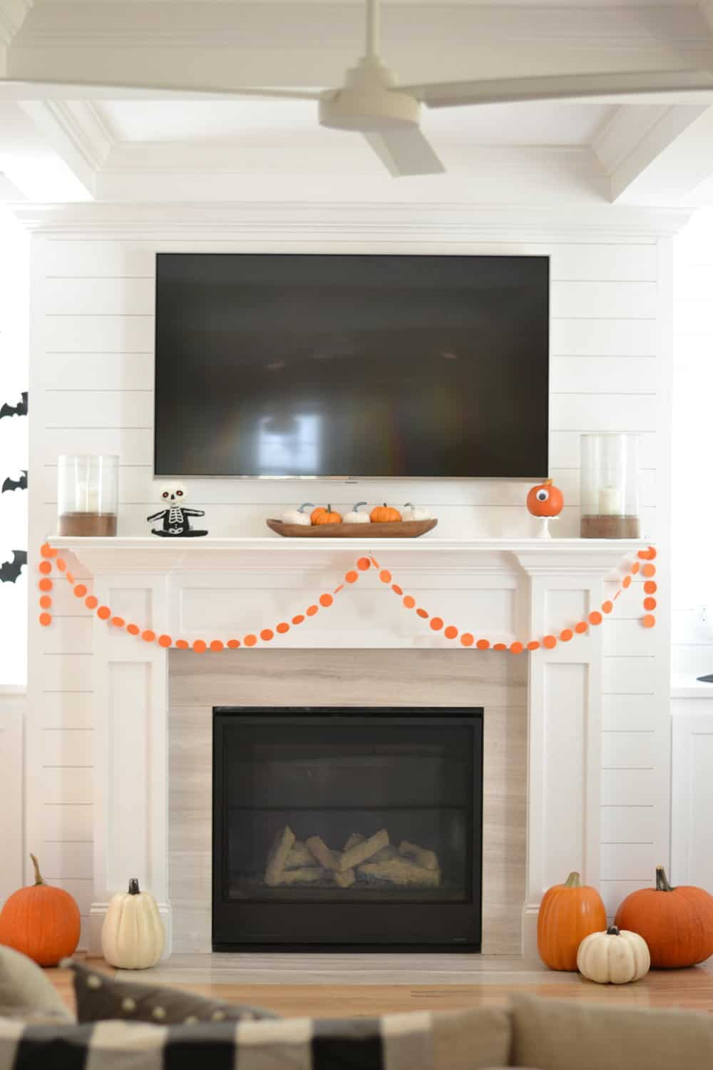 our halloween mantle we decorated affordably