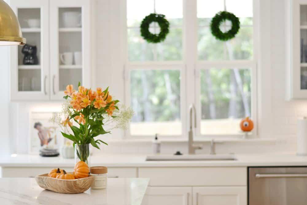 cheap wreaths in window