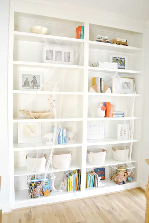 spiderwebs on bookshelves