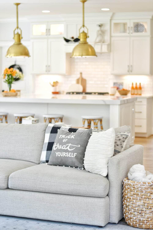 sofa with halloween pillow