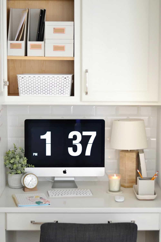 kitchen desk cabinets with organized paperwork