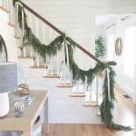 garland on staircase with ribbon