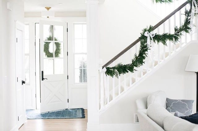 White House and white stairs with garland