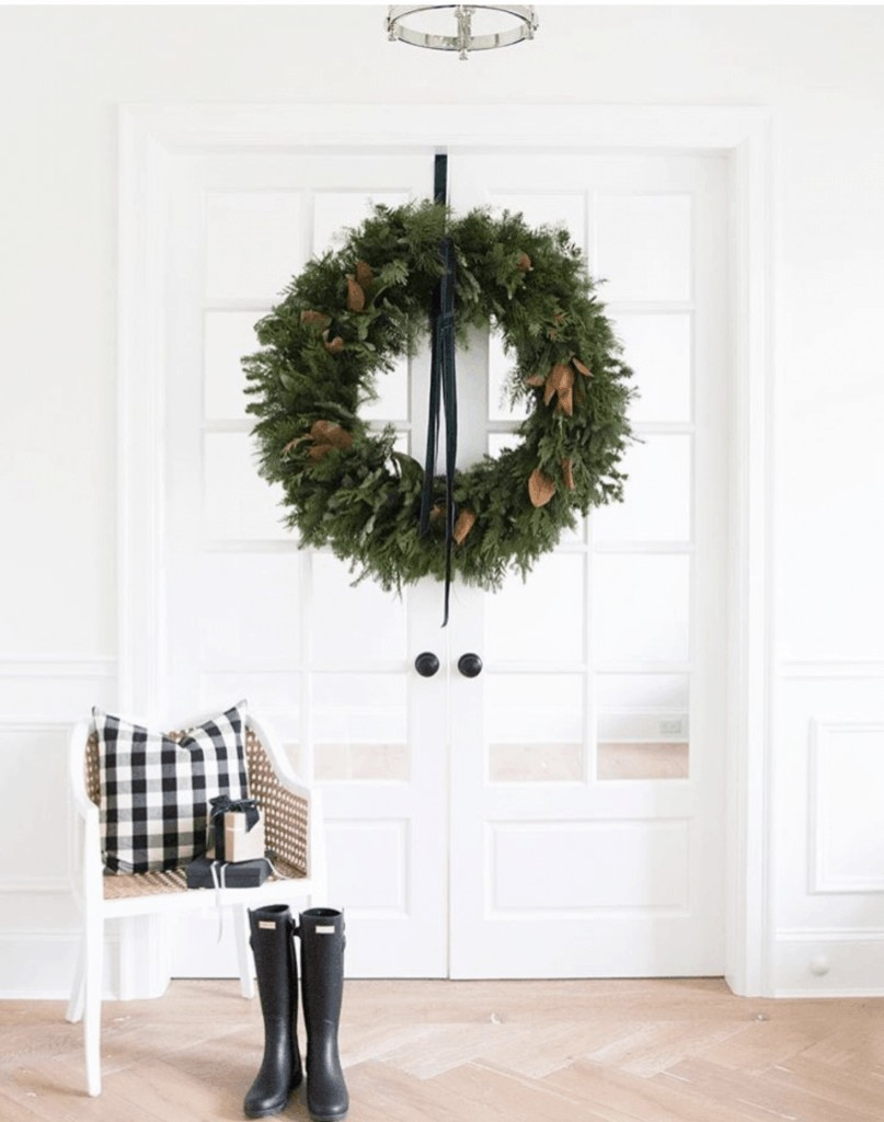 oversized wreath on glass French doors