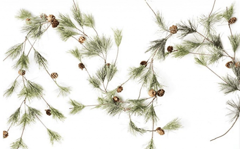 a single garland with pinecones