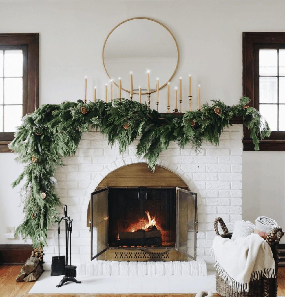 a garland hanging asymmetrical