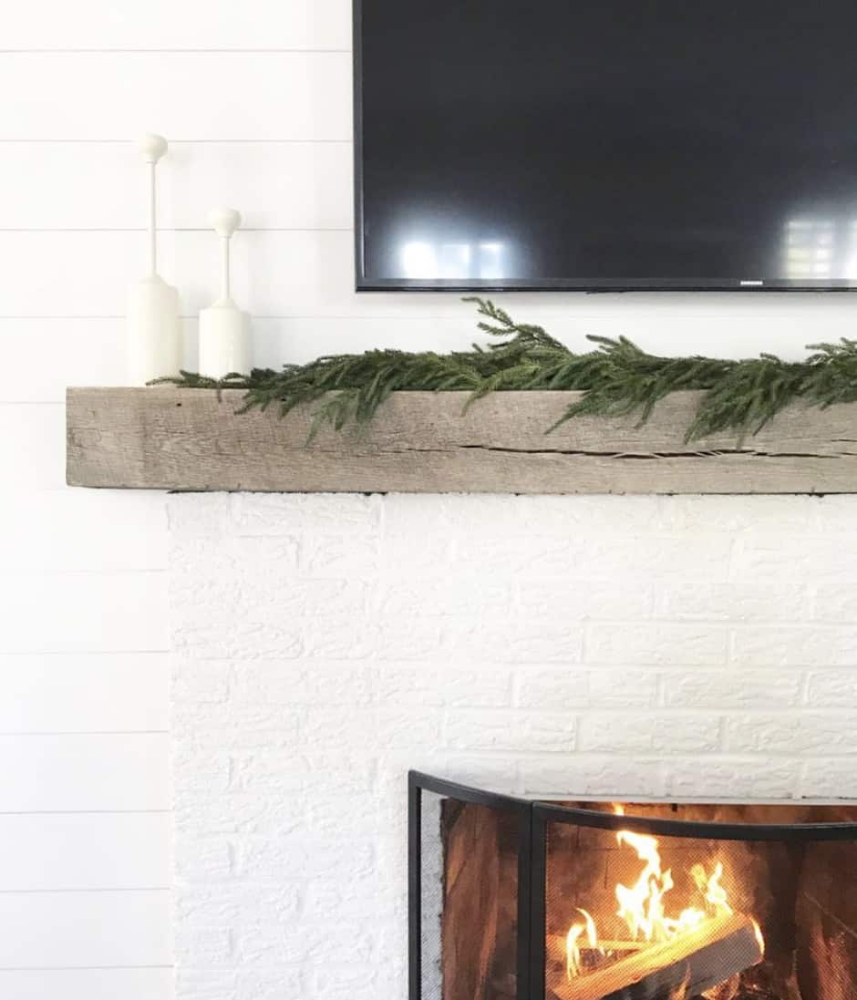 garland on a mantle