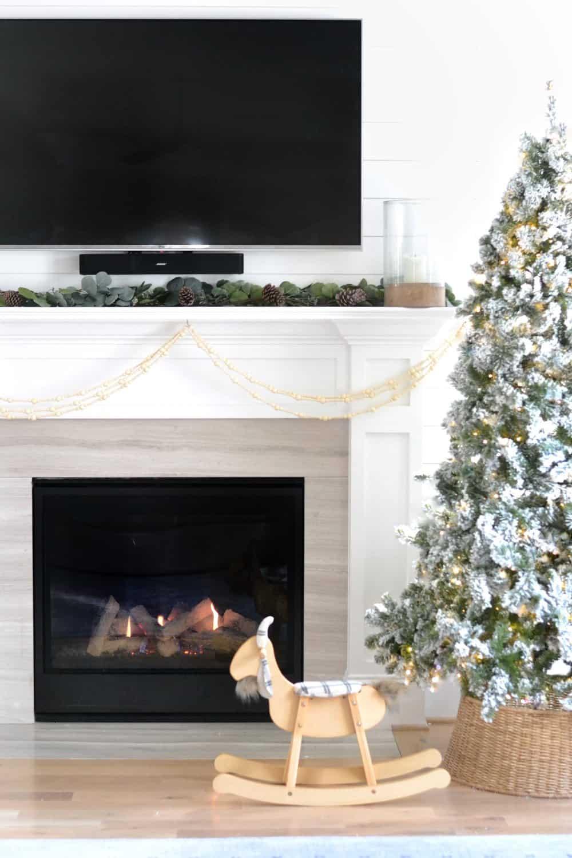 fireplace, mantel, faux garland