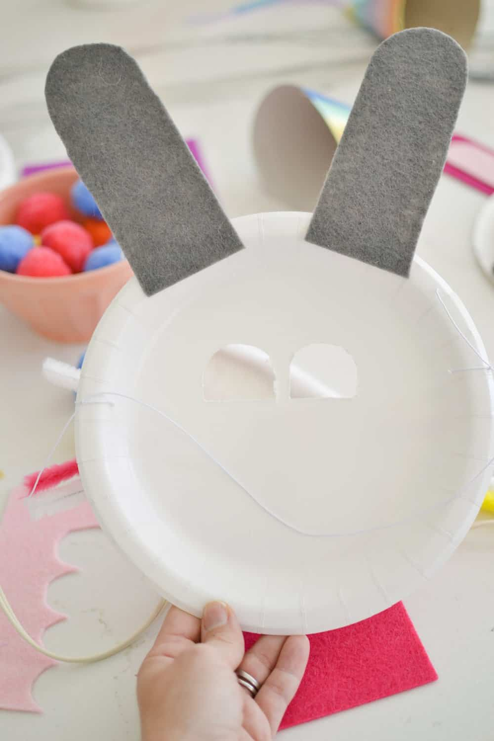 the BACK of an easter bunny mask.