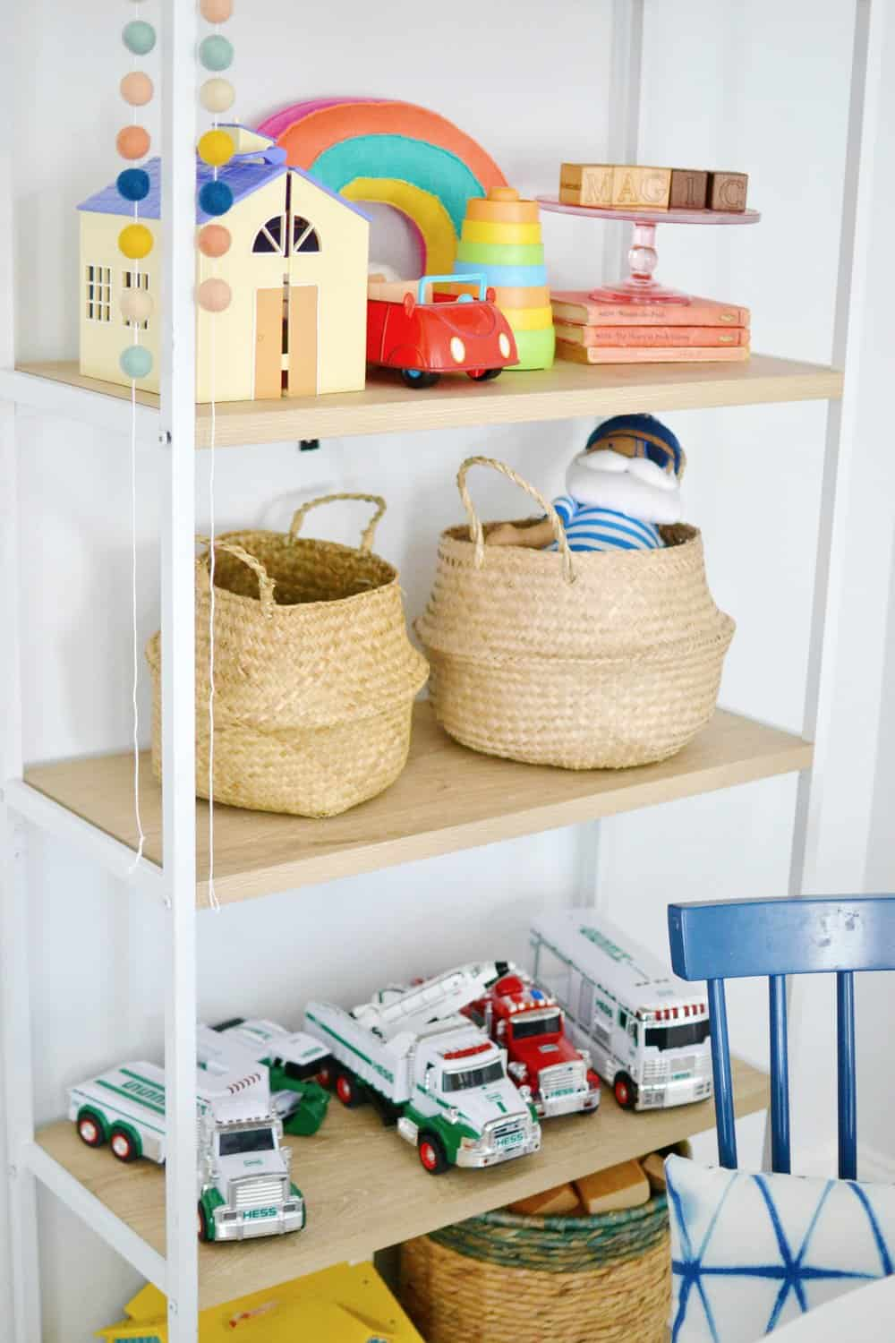 open bookshelf in playroom