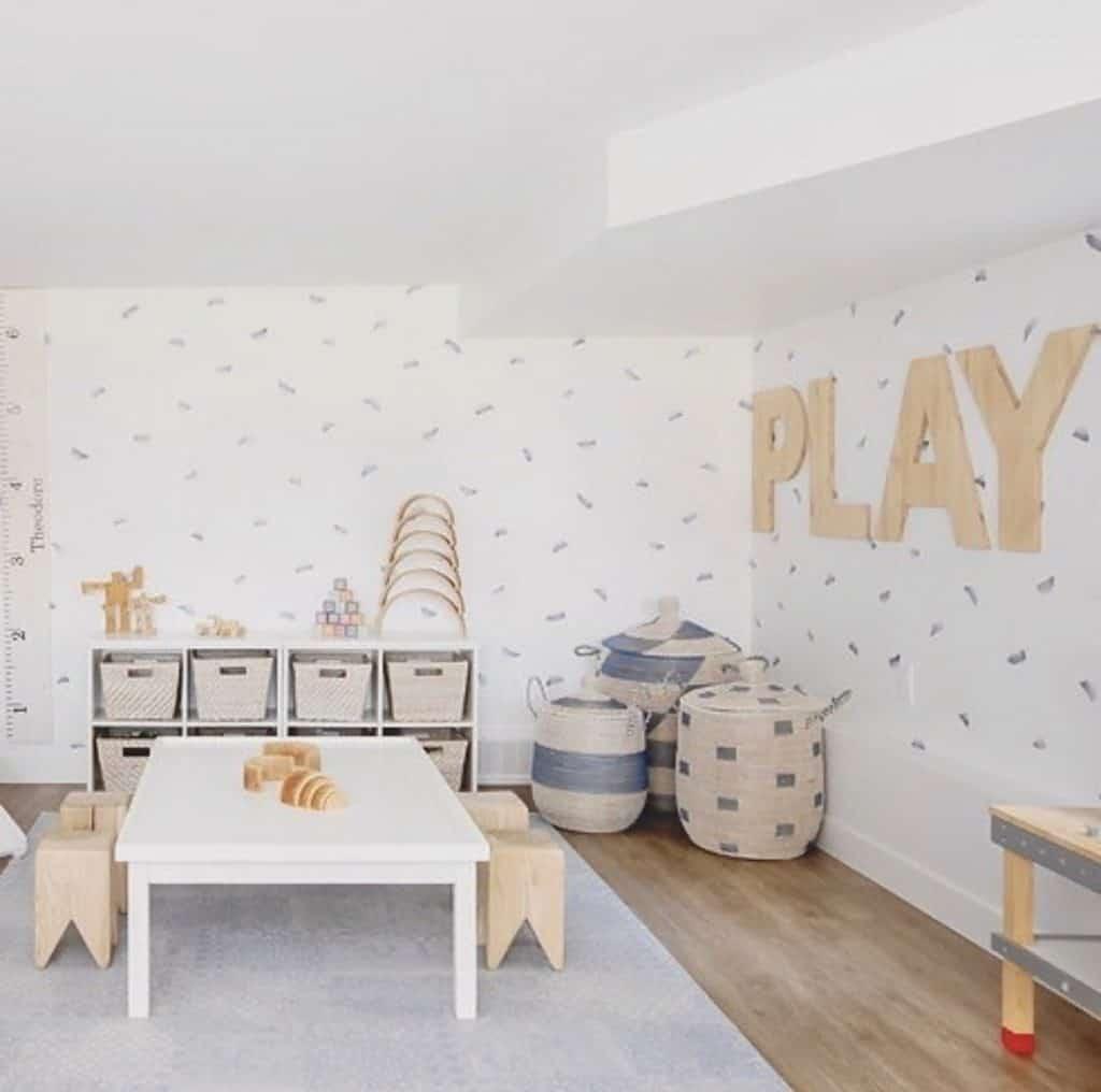 3 La Jolla baskets in a playroom