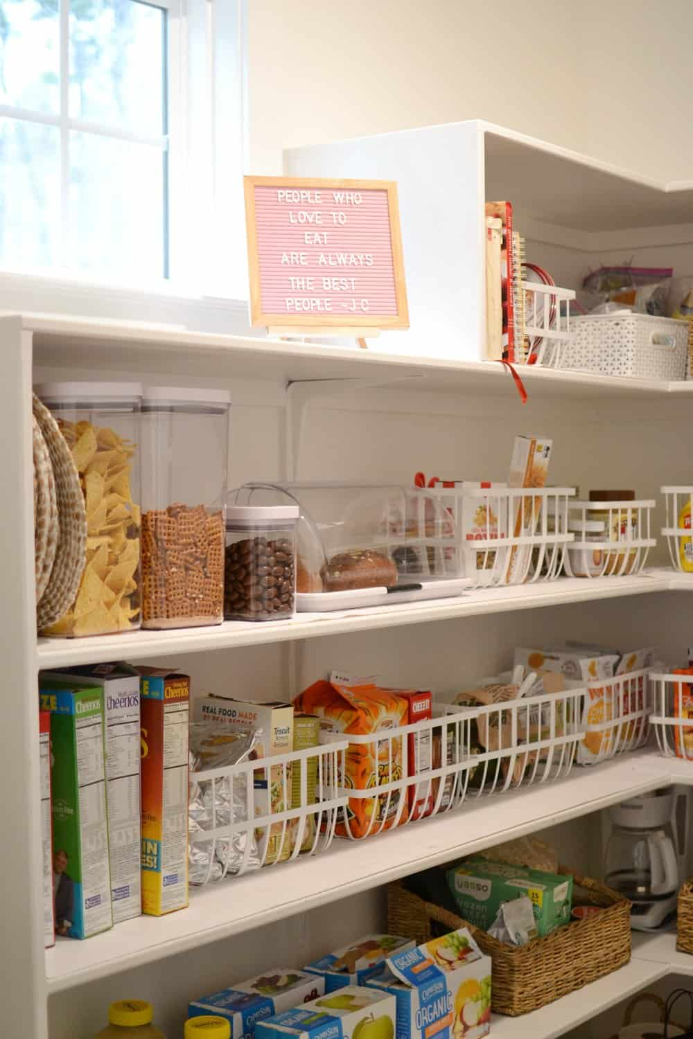 organized shelves in a pantry