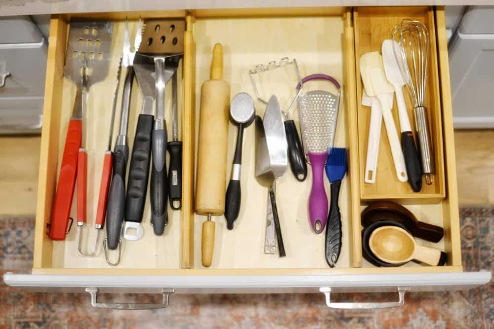 organized kitchen drawers with bamboo drawer organizer
