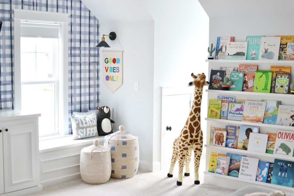 playroom with plaid wallpaper