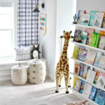 Pinterest image showing playroom for teens and toddlers