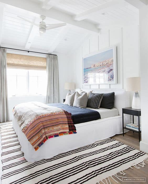 oversized beach print over a bed