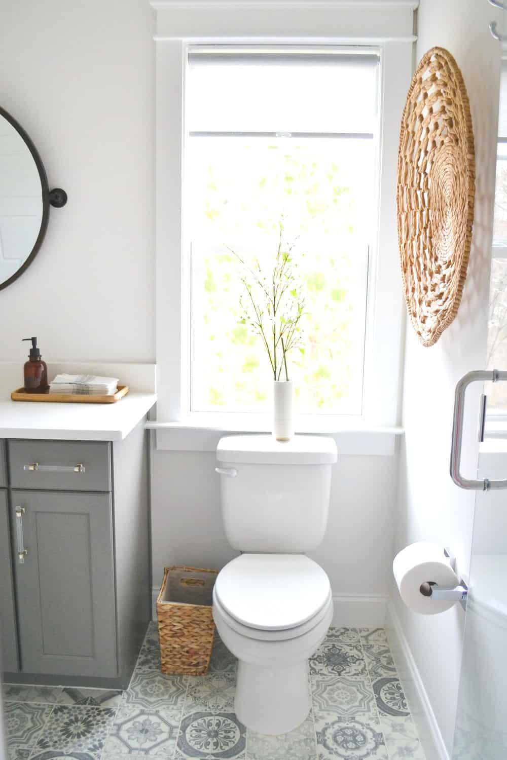Mixed metals and patterned tile toilet