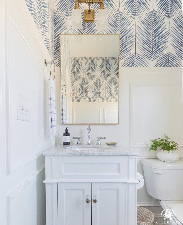 blue wallpaper in a bathroom