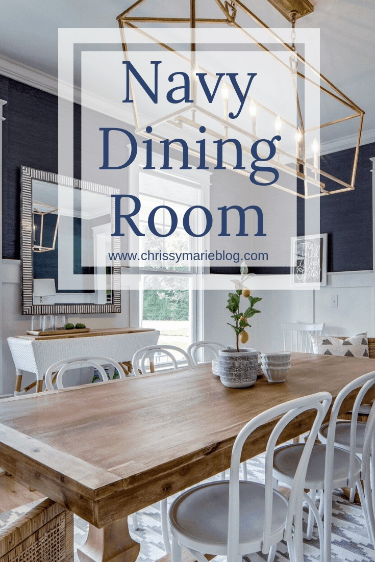 pinterest image for navy dining room