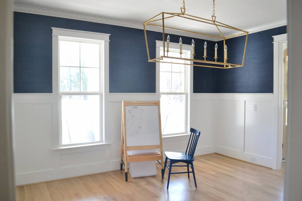 empty dining room with navy walls