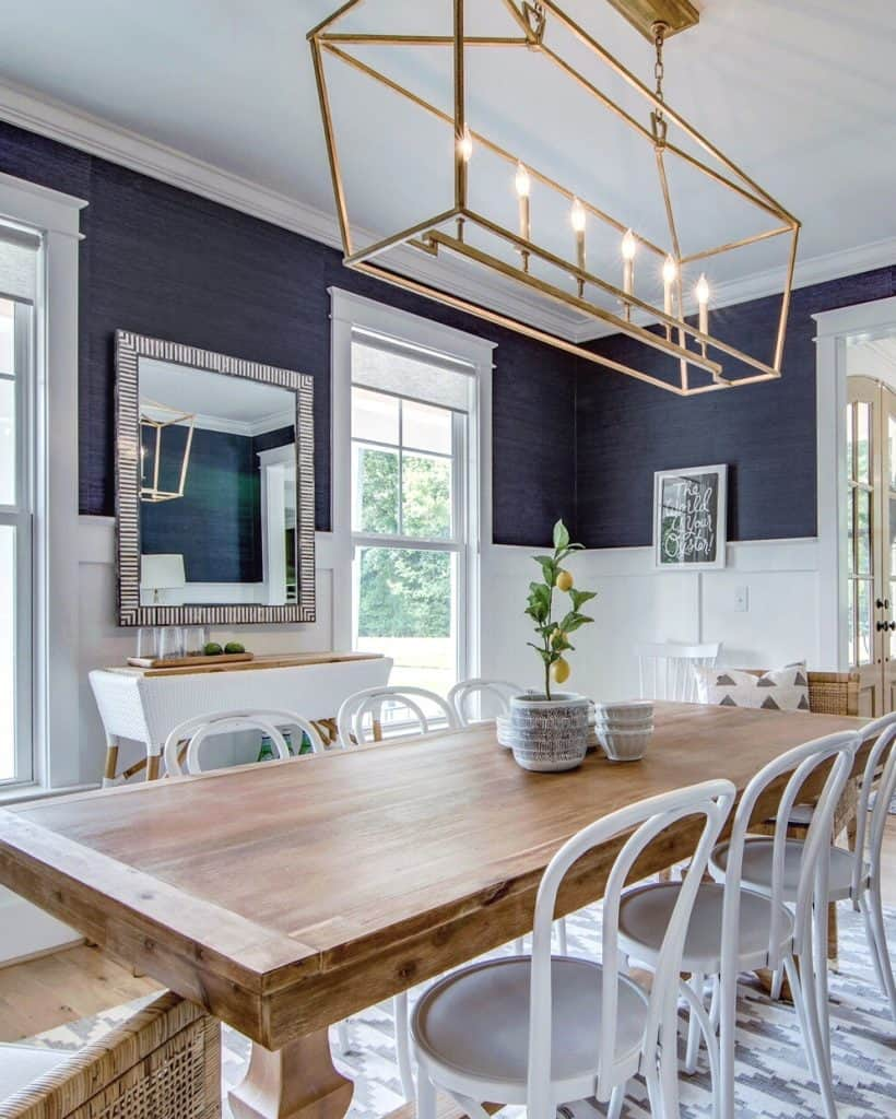 Grasscloth Wallpaper In The Dining Room, Navy Grasscloth Wallpaper Dining Room