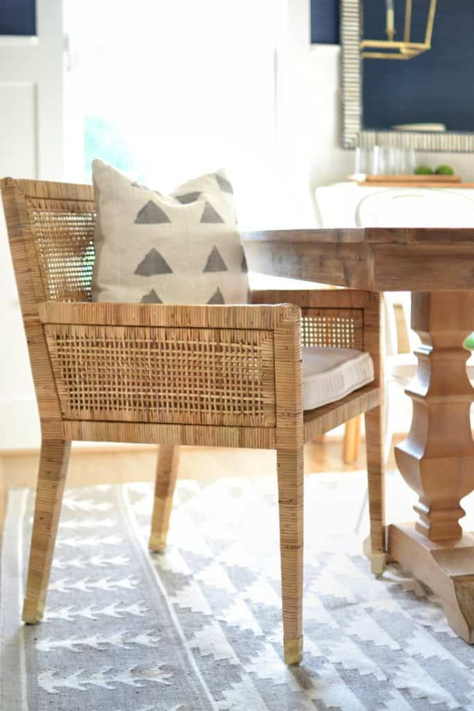 the Balboa arm chair from Serena & lily in a dining room