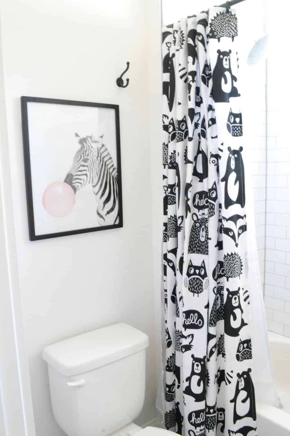 black and white forest friends shower curtain