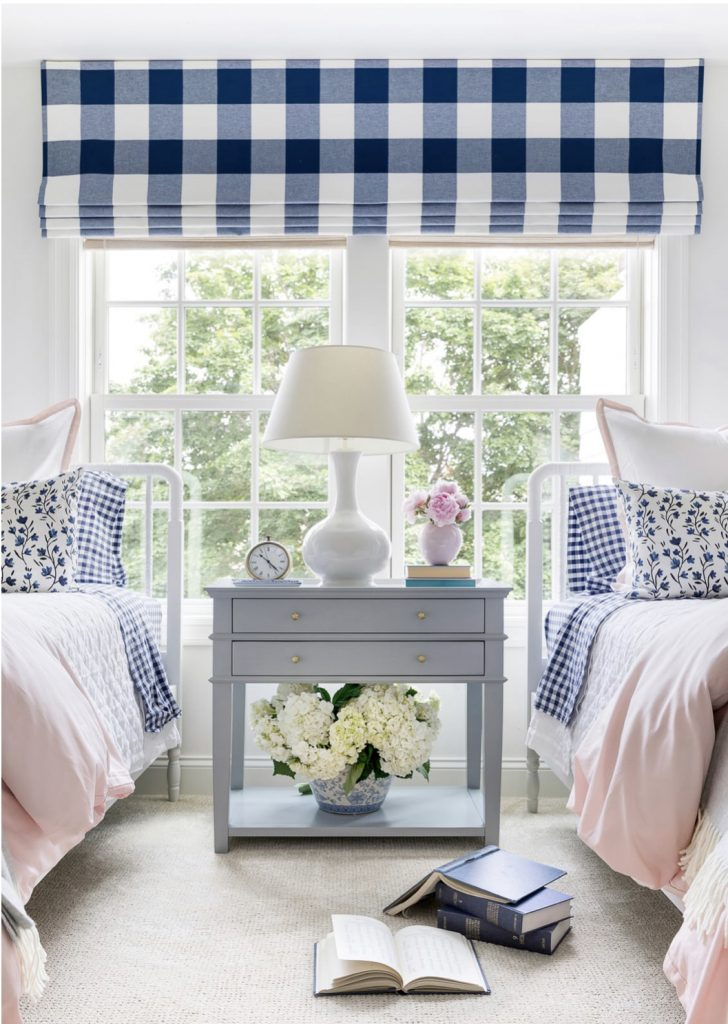 preppy little girls room with blue and pink