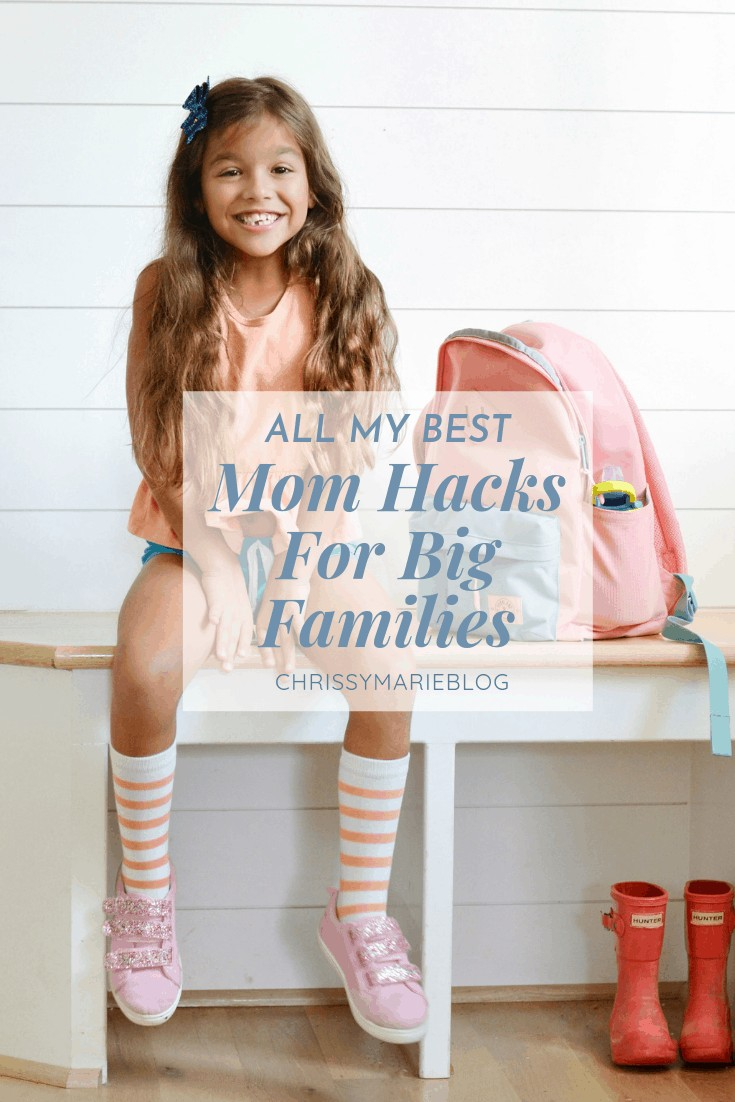 """Pinterest image that has a girl and text that reads """"all my best life hacks for moms"""