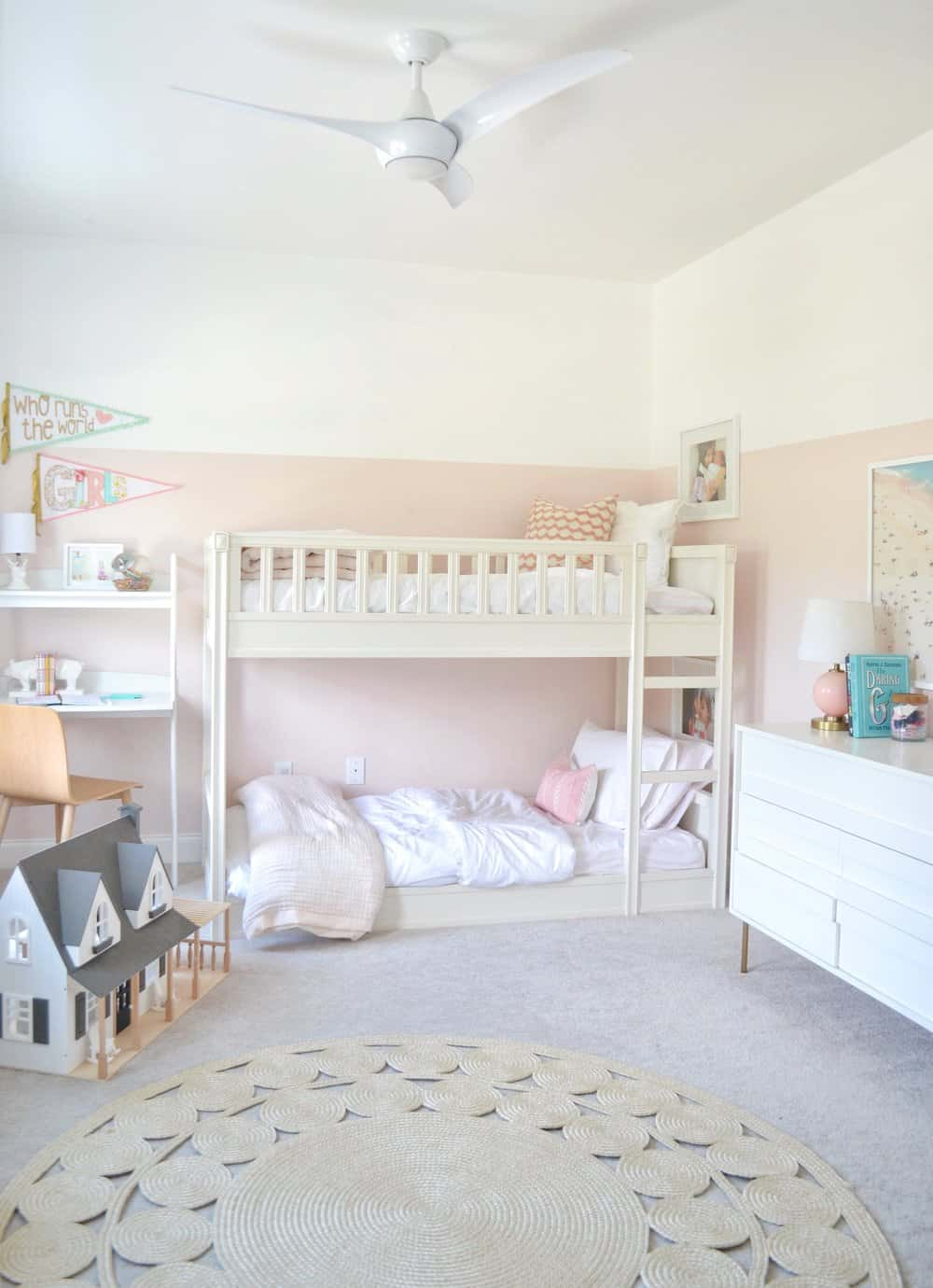 bunk bed in a girls shared bedroom