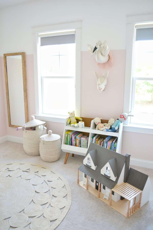 bookshelf in the girls shared bedroom