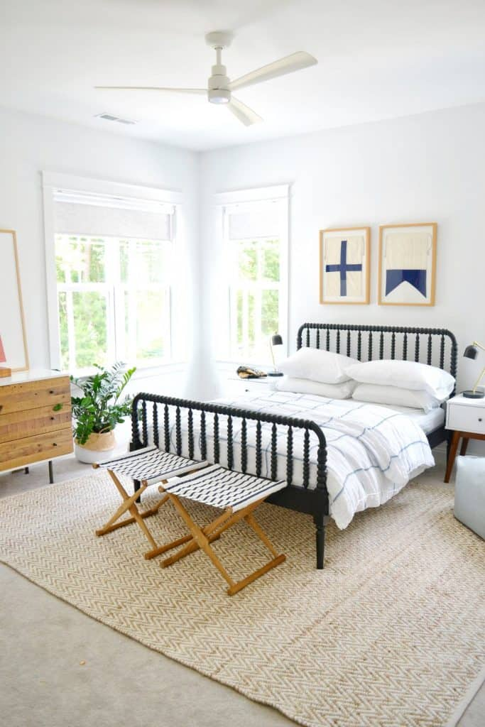 boys room with teak camp stools from Serena & lily for review