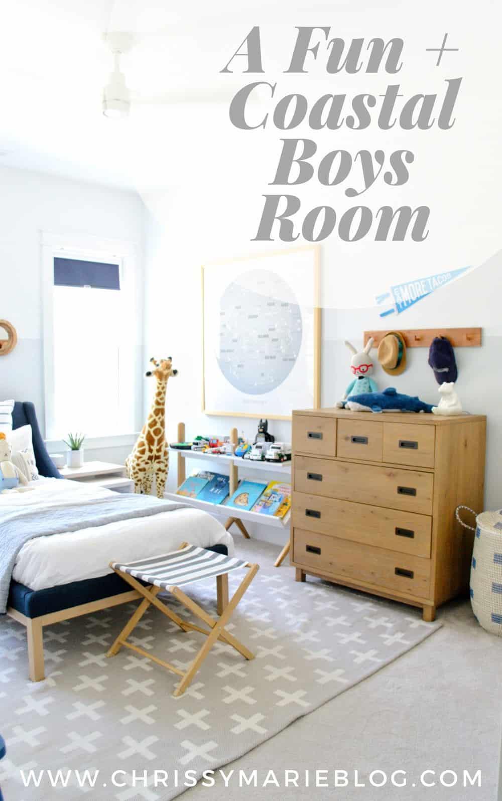 Pinterest image for a  kids coastal bedroom