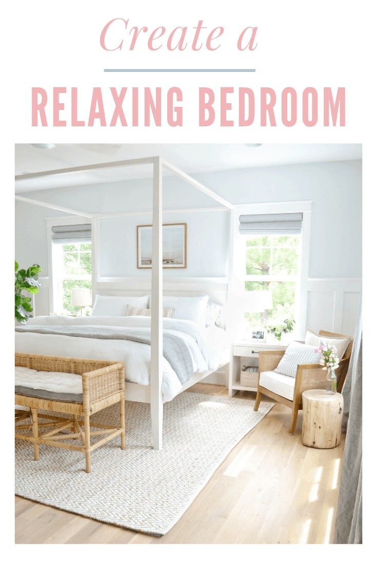 Pinnable image of how to create a relaxing master bedroom
