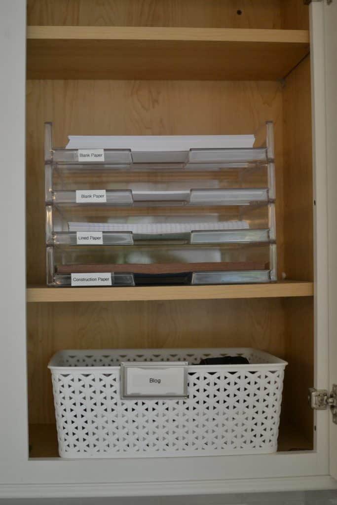 paper organizer inside kitchen desk area