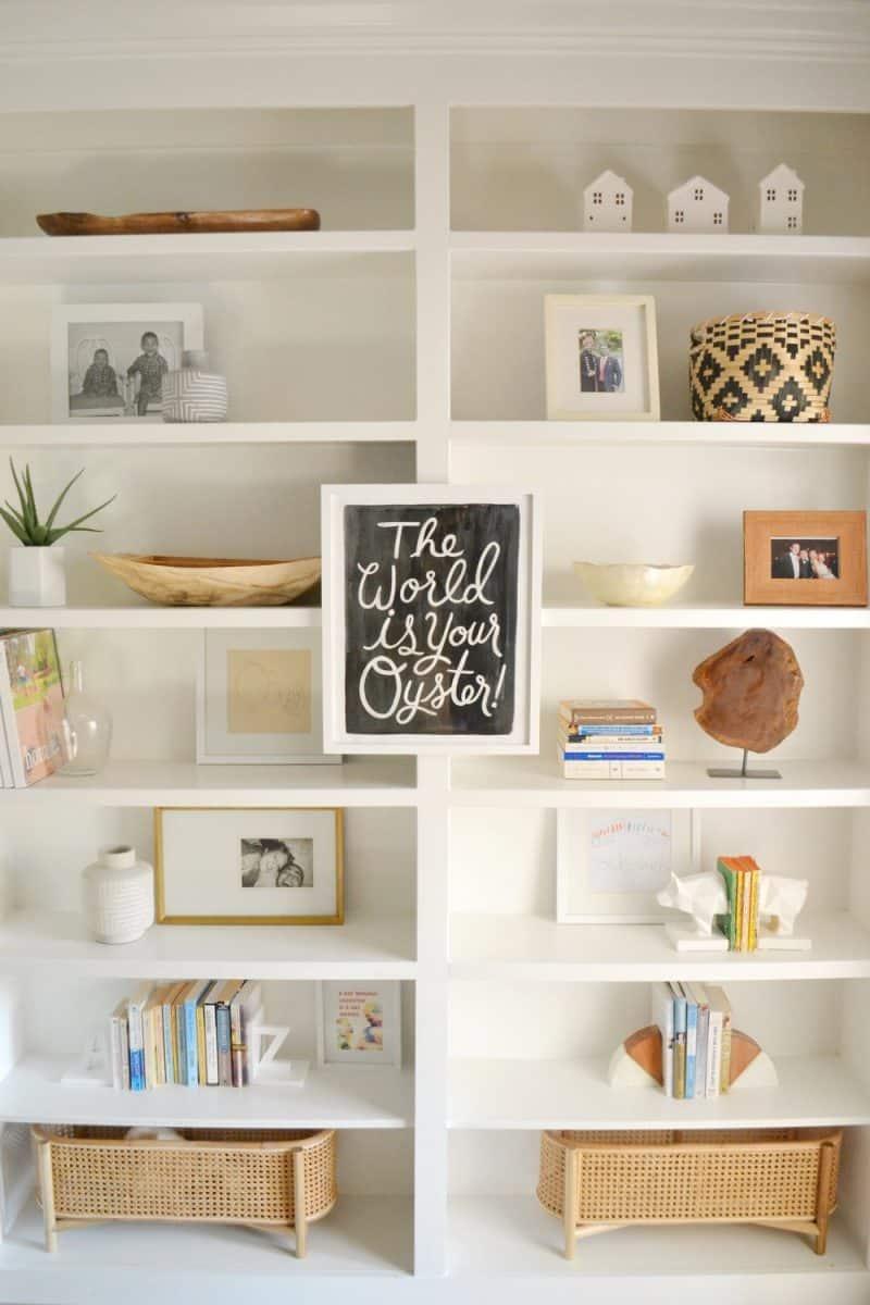 styled built in bookshelves