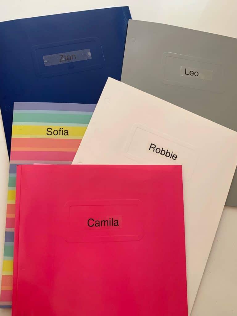 labeled folders