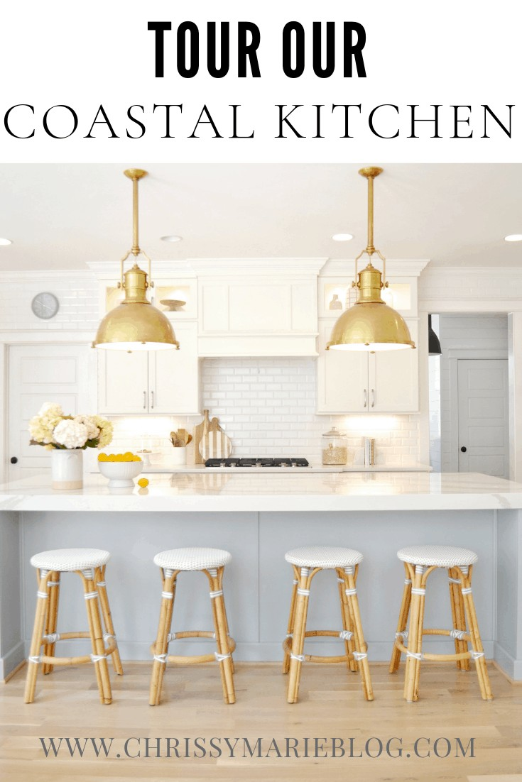 Pinterest image with text that says ideas for your coastal kitchen