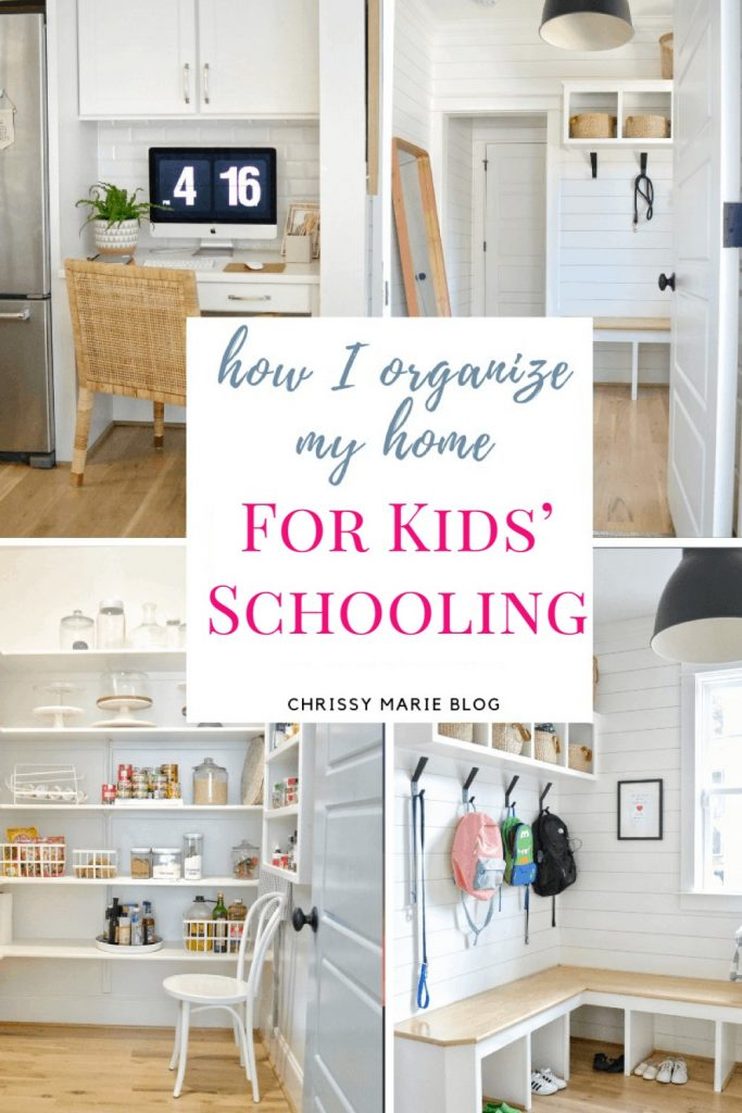 how organize home for kids schooling on a pinterest image
