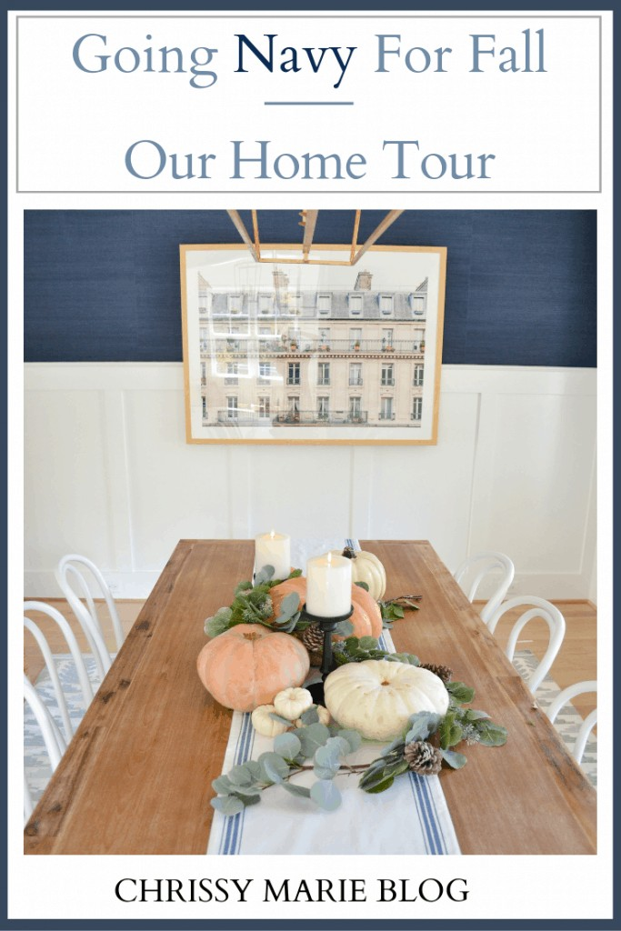 navy fall decor in the dining room, Pinterest image