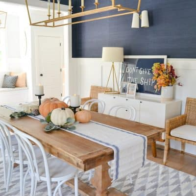 navy dining room fall decor