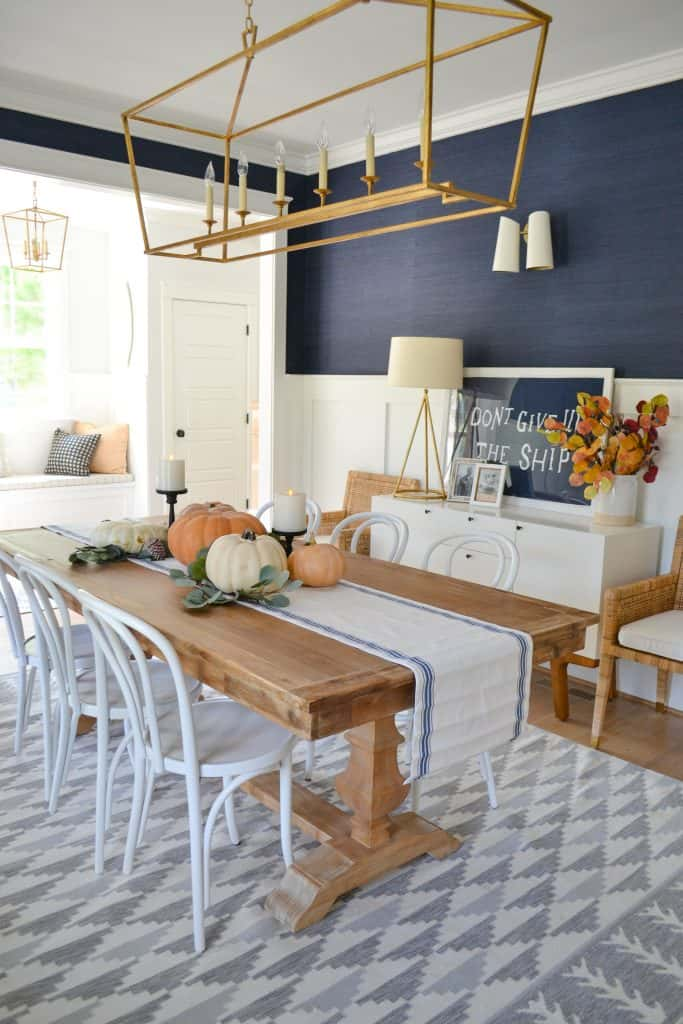 Navy dining room with pumpkins